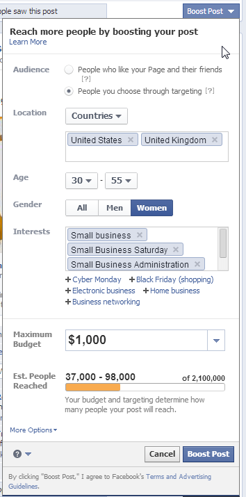 facebook boost target options