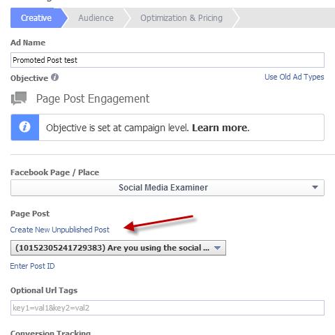 unpublished promoted post option
