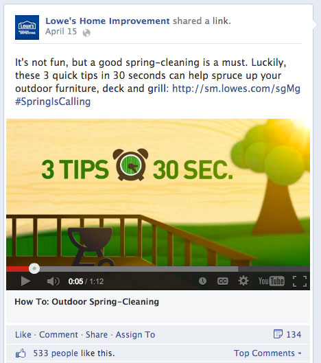 lowes explainer video on facebook