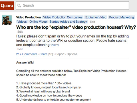 explainer video production houses list on quora