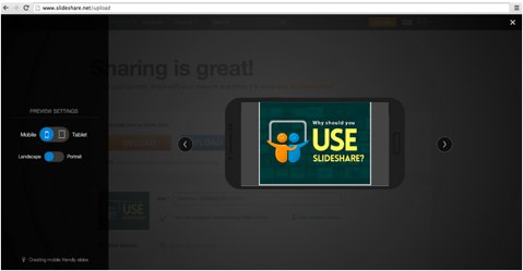 slideshare desktop mobile preview