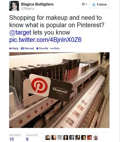 tweet of in-store pinterest tag in target