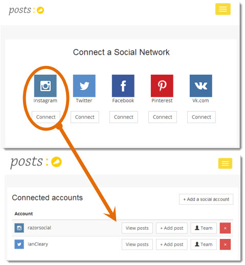 connecting accounts to postso