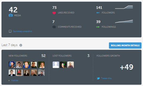 viewing new followers on statigr.am