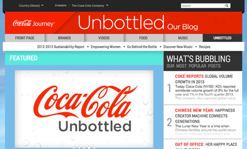 coca-cola's unbottled blog