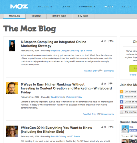 moz blog entries