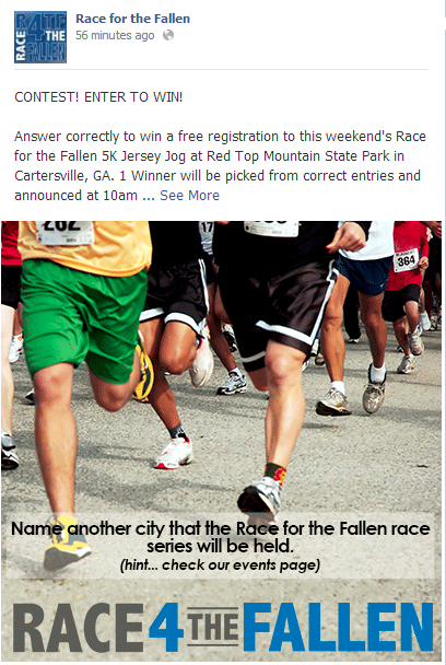 race for the fallen facebook give away update