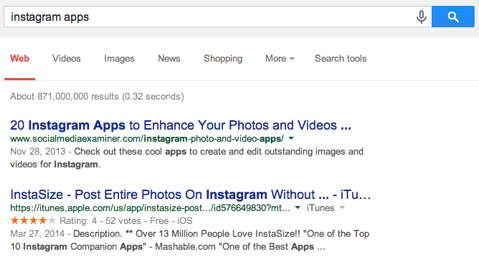 google search instagram apps