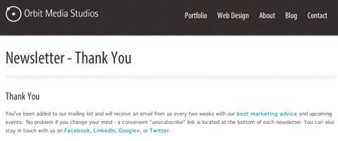 orbit media thank you page
