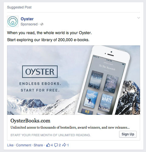 facebook newsfeed ad example