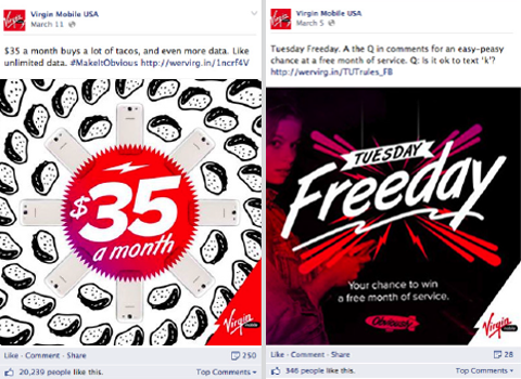virgin mobile usa facebook updates