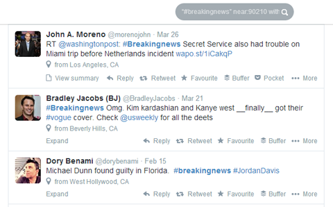 geolocation twitter search results