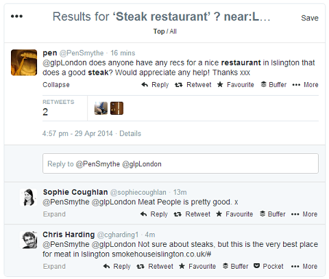 sentiment related twitter search results