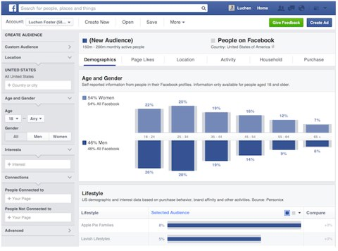advertise on Facebook - Audience Insight demographics