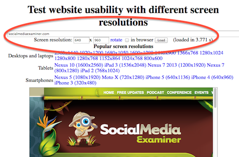 social media examiner resolution test