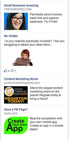 facebook sidebar ads