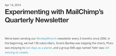 humorous mailchimp post