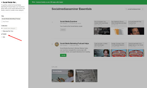 adding social media examiner blog to feedly category