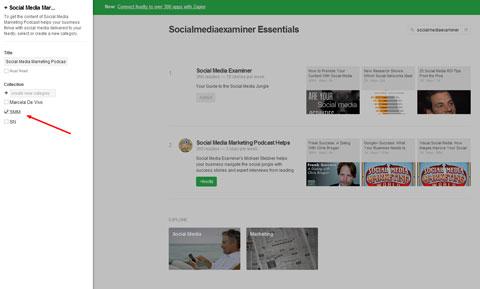 adding social media examiner blog to feedly category