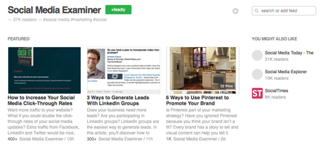 social media examiner blog articles on feedly