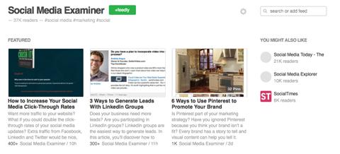 social media examiner blog articles on feedly