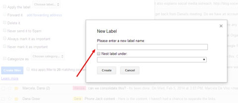 create gmail label