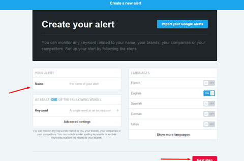 enter keyword for alert on mention