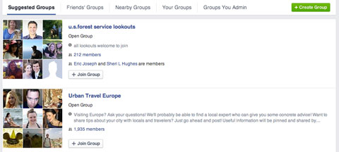 suggested facebook groups