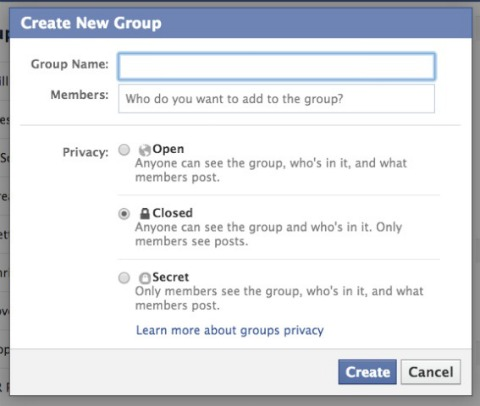 facebook group setup screen