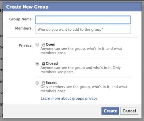 facebook group setup screen