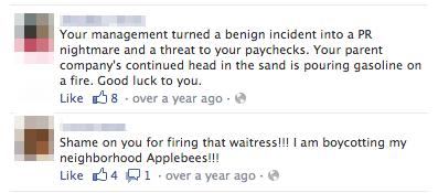 applebees facebook feedback