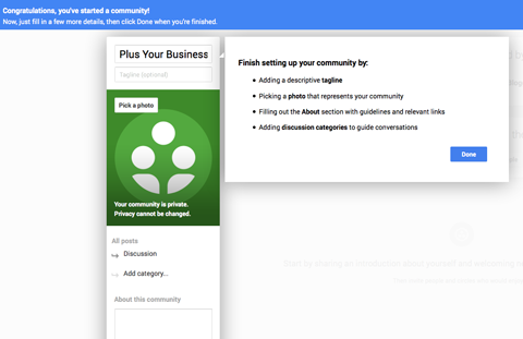 creating a google plus community