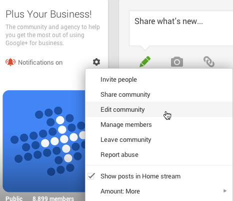 edit a google plus community