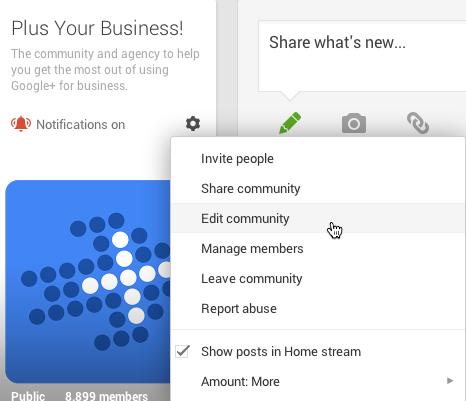edit a google plus community