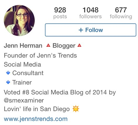 jennstrends instagram bio