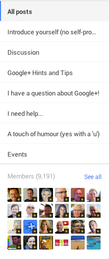 google plus community categories