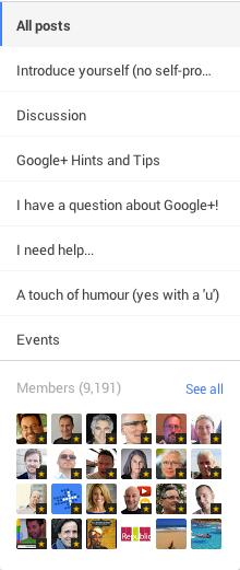 google plus community categories