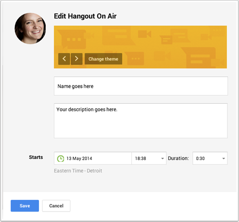 changing hangout on air theme