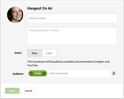 create a hangout on air