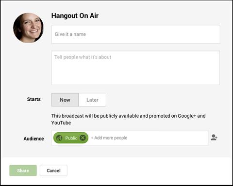create a hangout on air