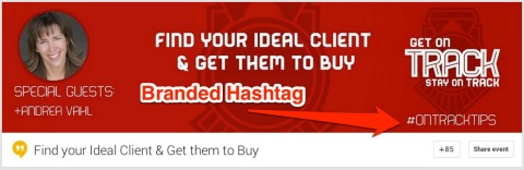 hashtag on hangout banner