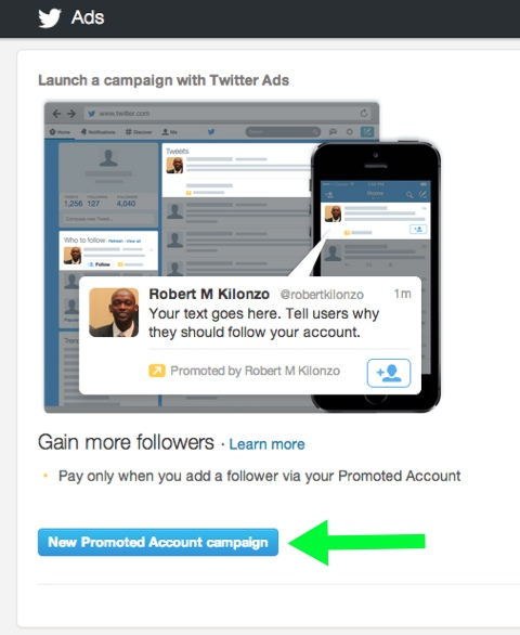 creating a new promoted account campaign