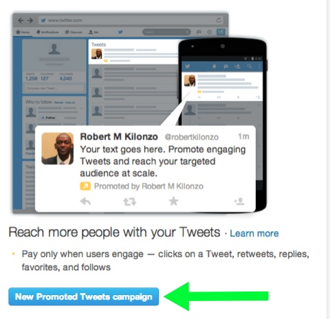 creating new promoted tweet campaign