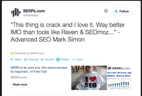 serpsapp promoted account tweet
