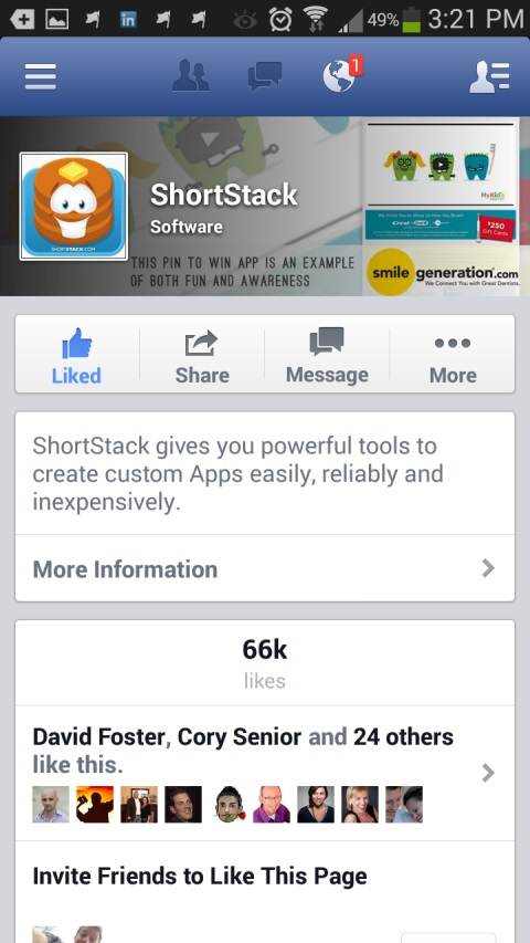 shortstack facebook page on mobile device