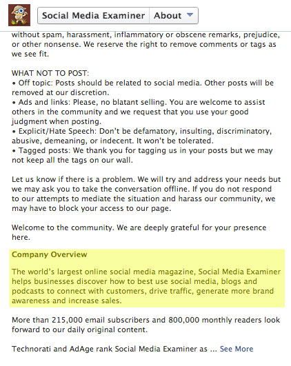 social media examiner company overview text