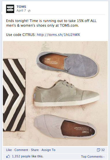 toms facebook update