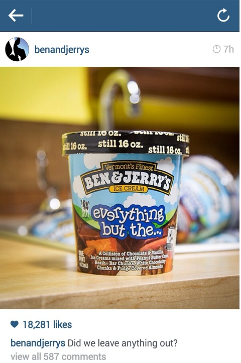 ben & jerry's instagram
