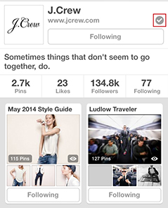 j.crew verified pinterest account