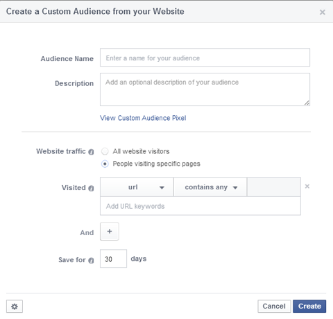 website visitor custom audience set up